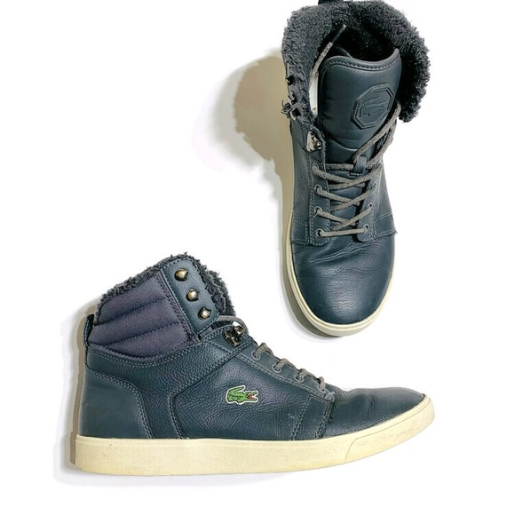 Lacoste Orelle Sherpa lined high top sneakers